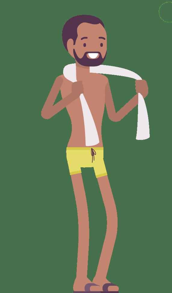 CAP bathing cartoon character