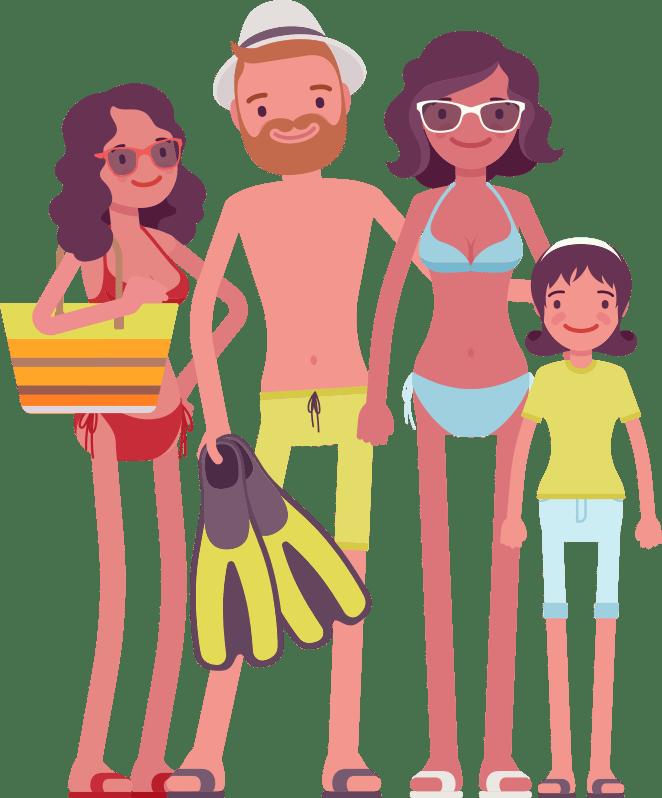 CAP family travel insurance cartoon
