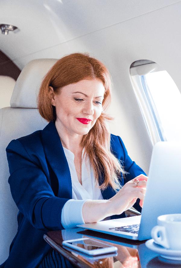 CAP business international traveler on plane