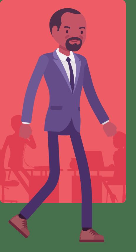 CAP business man walking cartoon