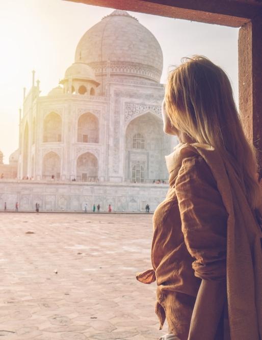 CAP study abroad student looking at the Taj Mahal