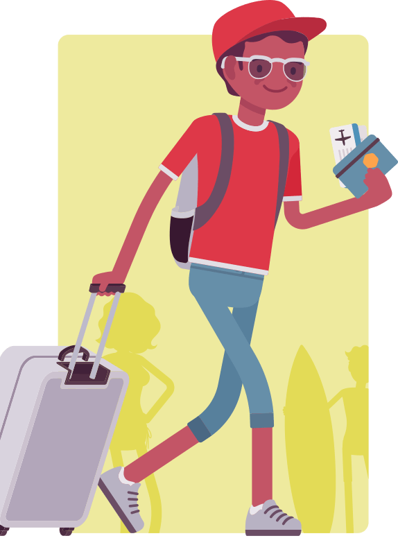 CAP student traveling cartoon