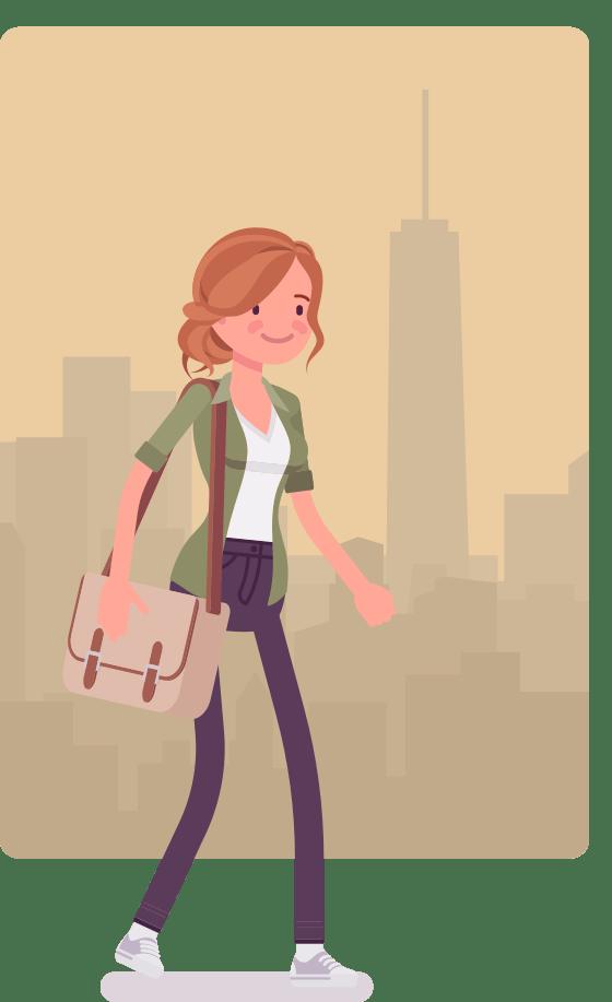 CAP cartoon walking in the city