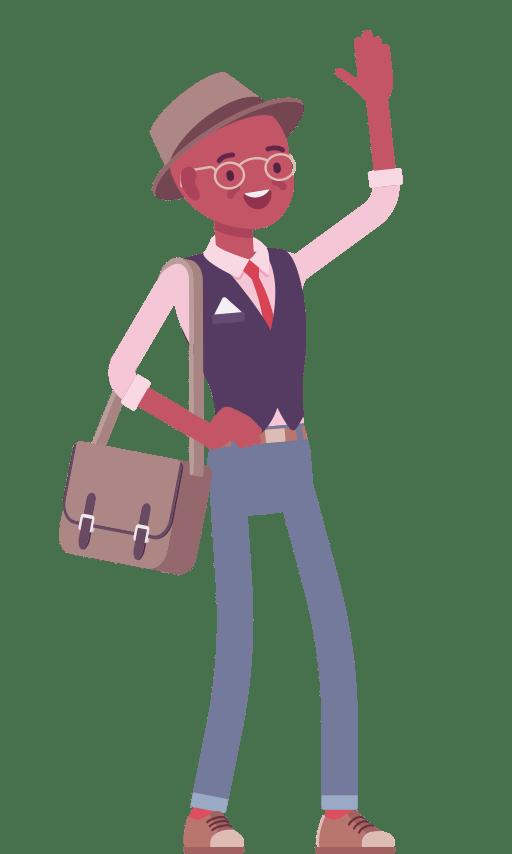 CAP cartoon character waving