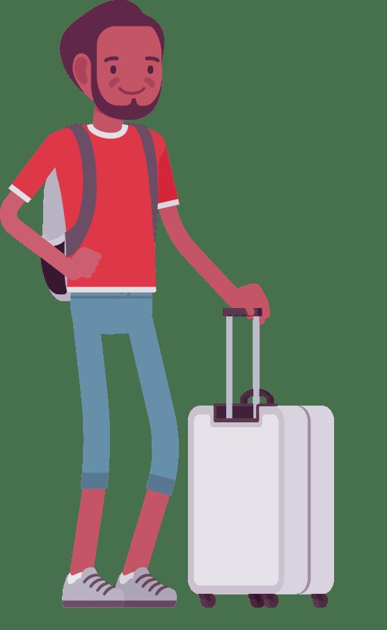 CAP man with suitcase cartoon