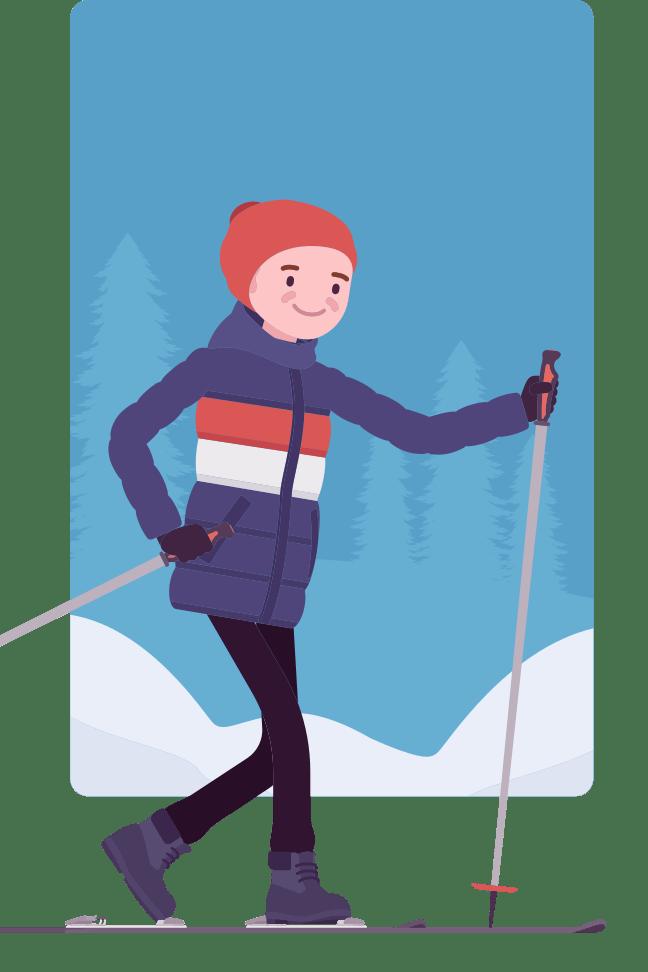 CAP cartoon skier