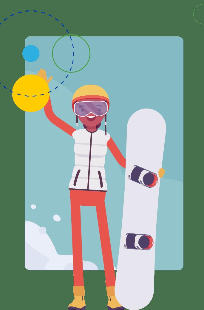 CAP cartoon snowboarder