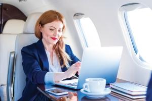 Woman on First Class Flight